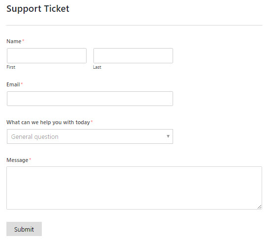 create a support ticket form