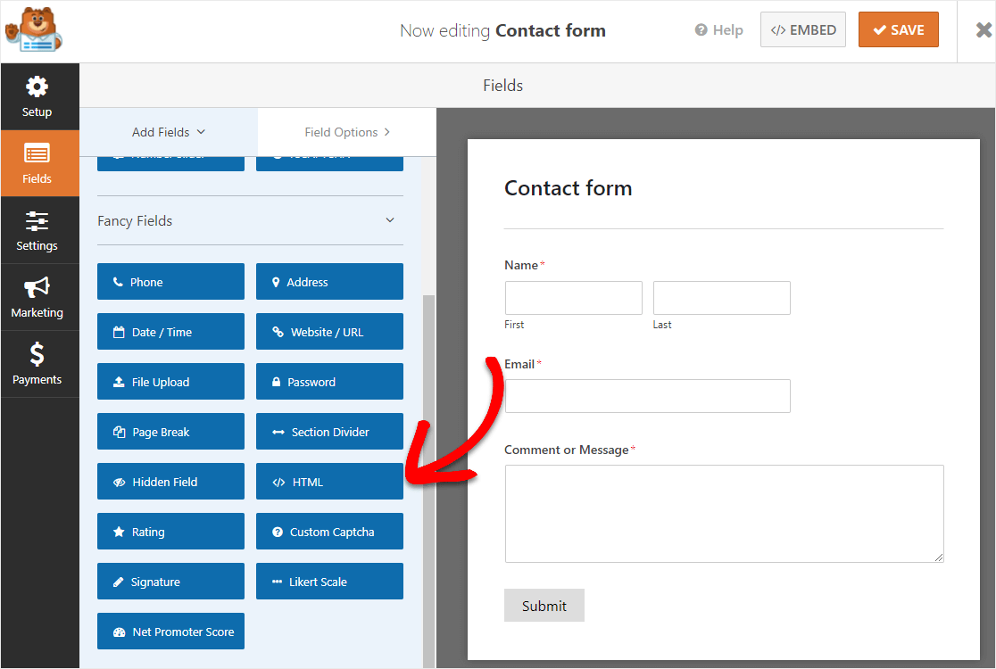 custom html field for contact form