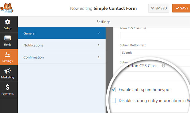 enable storing form data in wordpress database