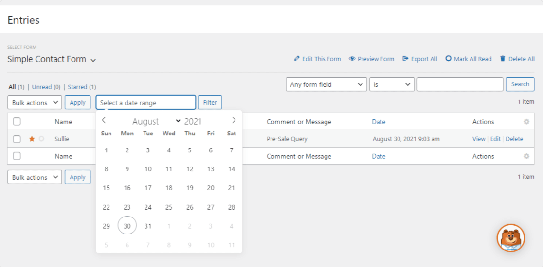 filter form entries by date