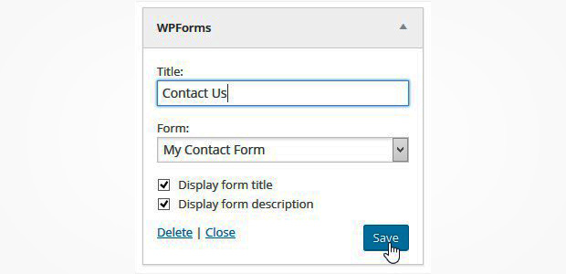 footer widget wpforms
