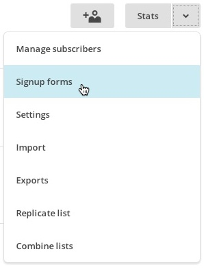 lists dropdown signupforms