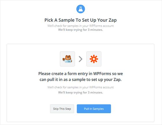 pull in samples in zapier