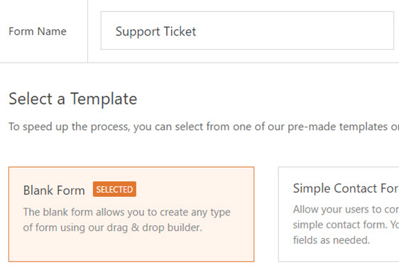 rename your form as support ticket