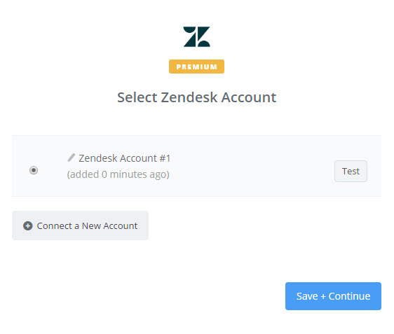 select zendesk account