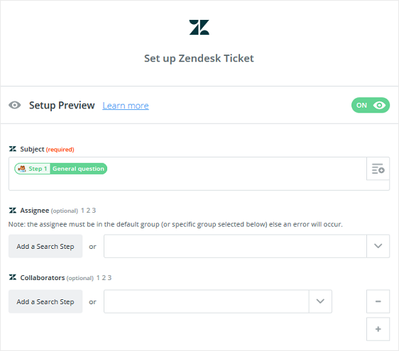 set up zendesk ticket