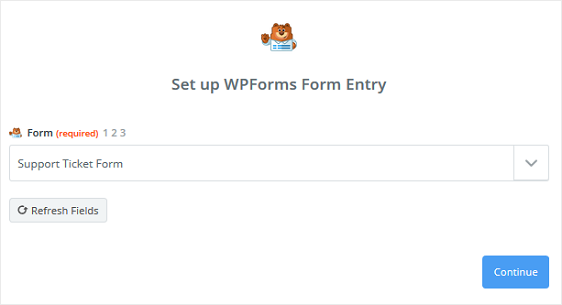 support ticket form entry in zapier