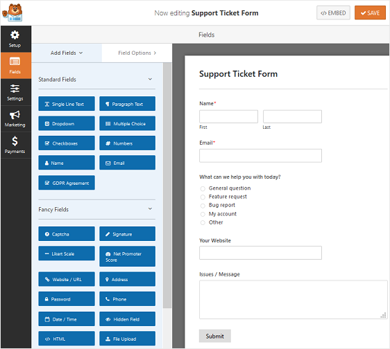 support ticket form