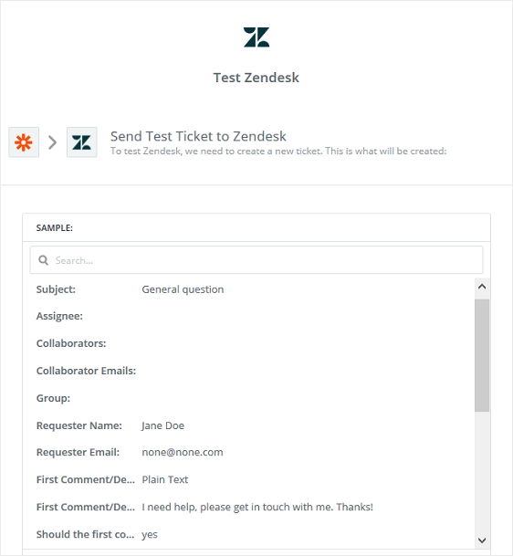 test zendesk support ticket