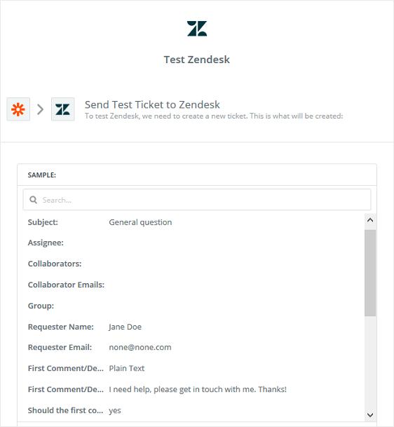 test zendesk support ticket