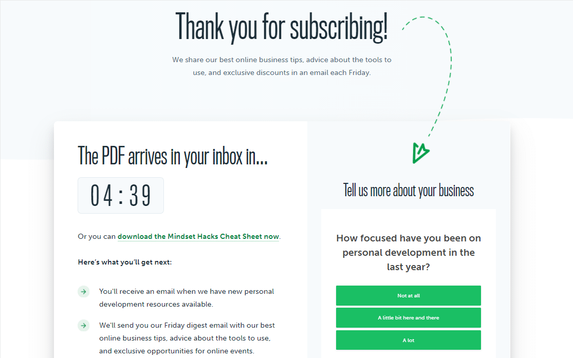 thank you page example with countdown timer