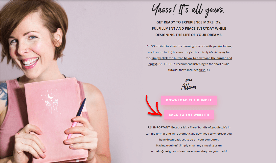 thank you page examples invite people back to the website