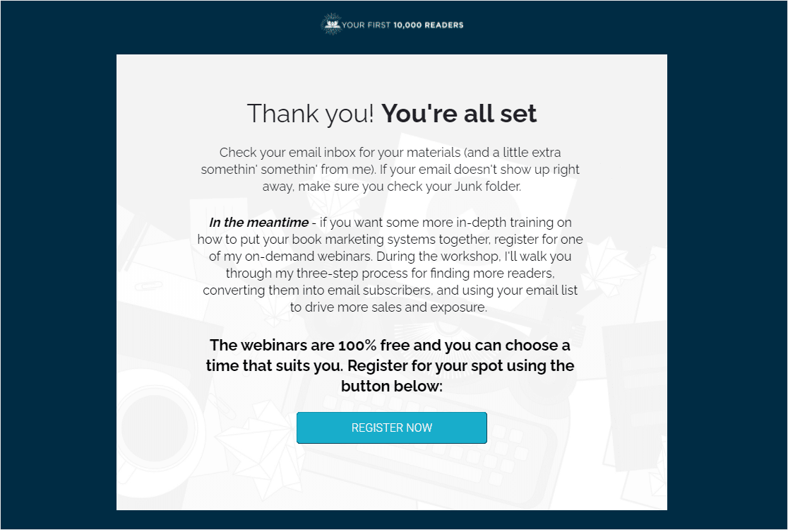 thank you page with CTA