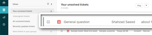 view newly added ticket zendesk