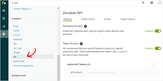 zapier api token in zendesk account