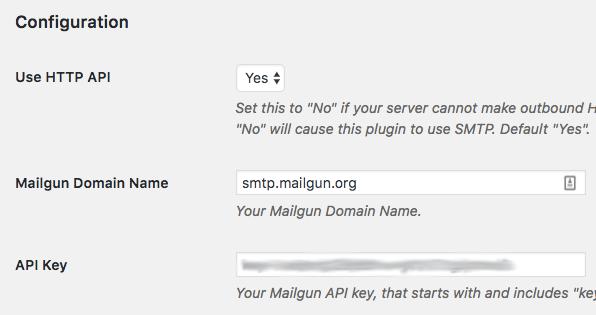 Add Mailgun API to WordPress