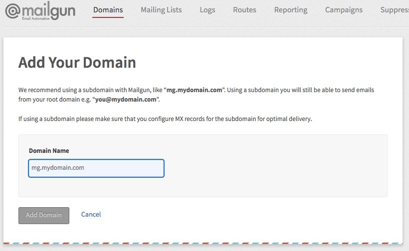 Add a domain to Mailgun