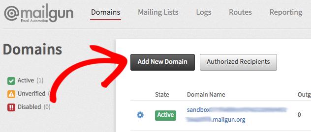 Add new domain to Mailgun