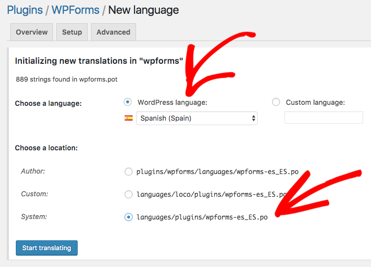 Add new language settings to translate WPForms with Loco Translate