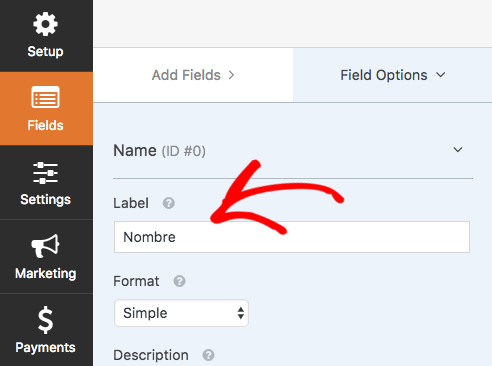 Change a form field label to a new language