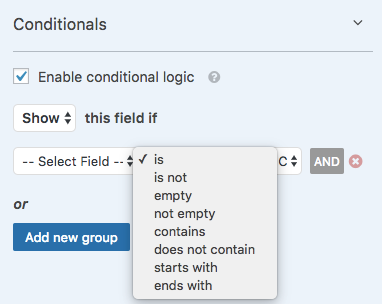 Conditional logic options