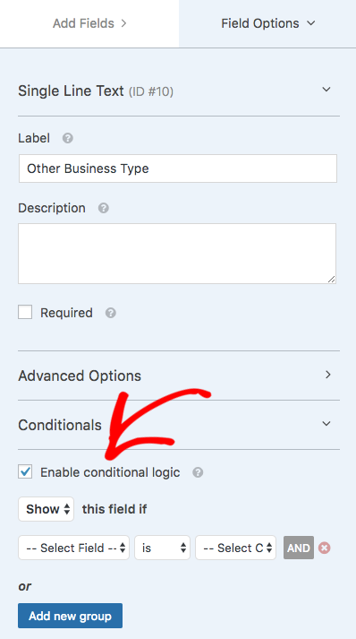 Enable conditional logic for a field