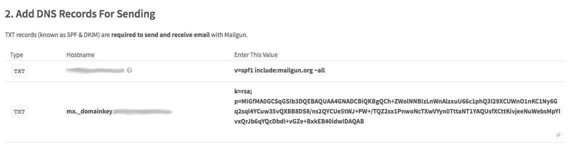 Mailgun DNS records for sending