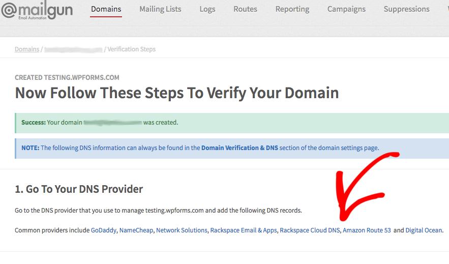 Mailgun Domains page