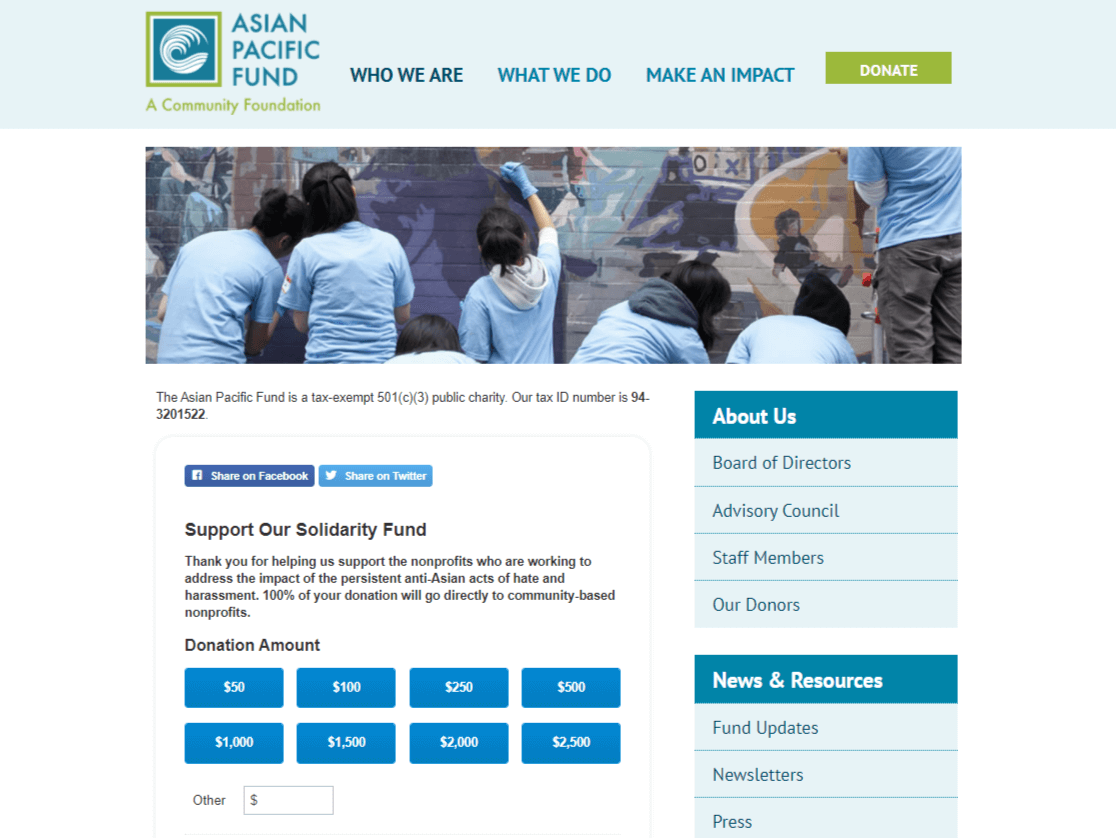 asian pacific donation page in wordpress example