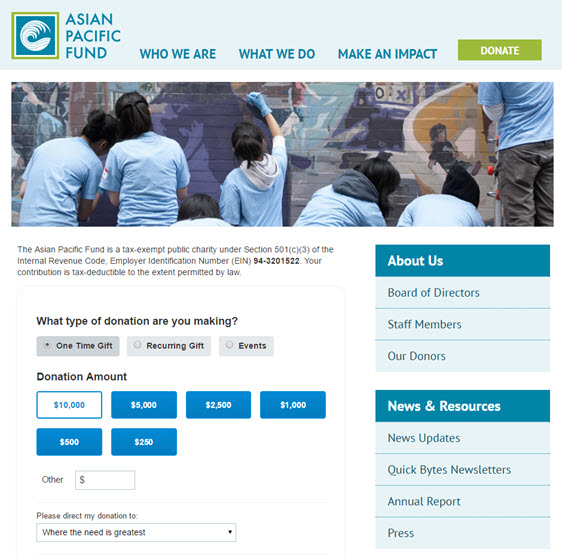 asian pacific fund- donation page