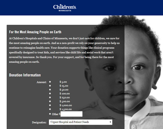 childrens- donation page