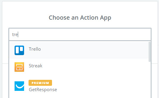 choose trello as action app