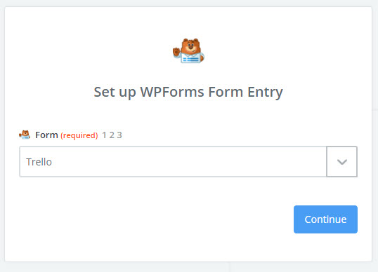 choose trello form in zapier