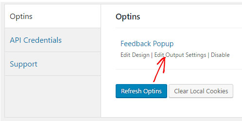 click edit outuput settings