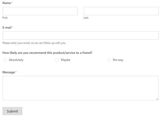 feedback popup form