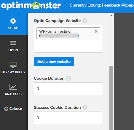 feedback popup setup