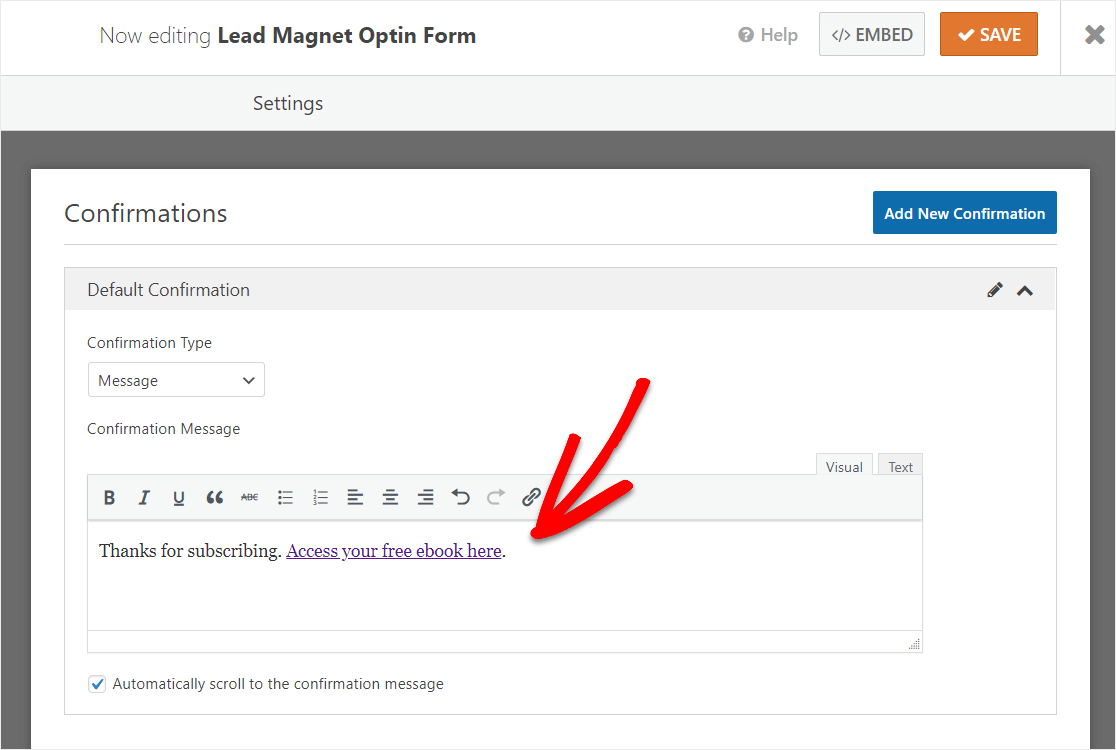 free lead magnet confirmation message form