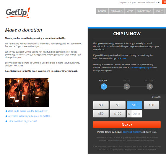 getup- donation page