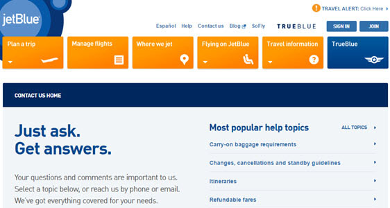 jetblue contact page