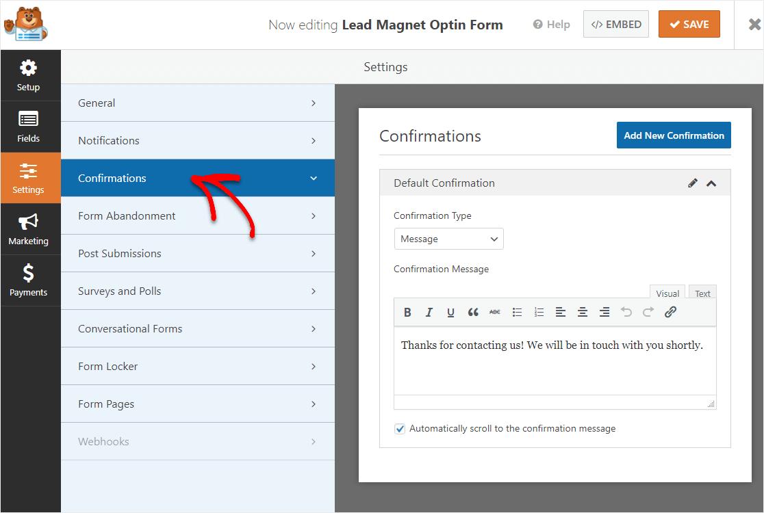 lead magnet optin confirmation screen