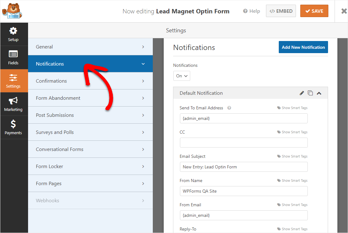 lead magnet optin form notifications