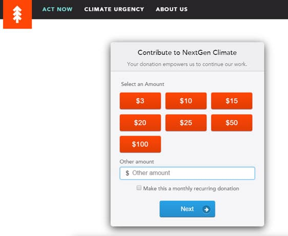 Nextgen Climate  Donation Page Example  Donation Form Example