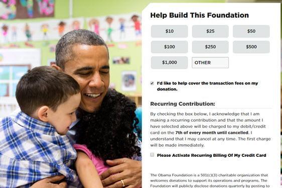 obama foundation- donation page