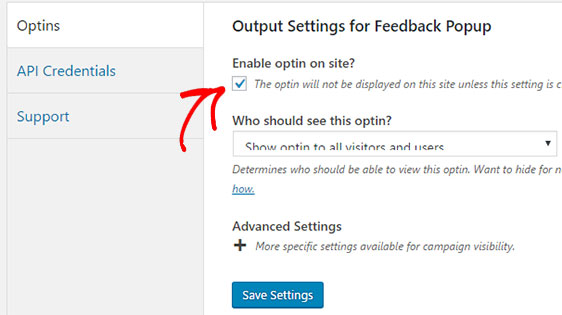 output settings for feedback popup form
