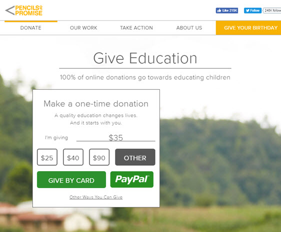 pencils of promise- donation page