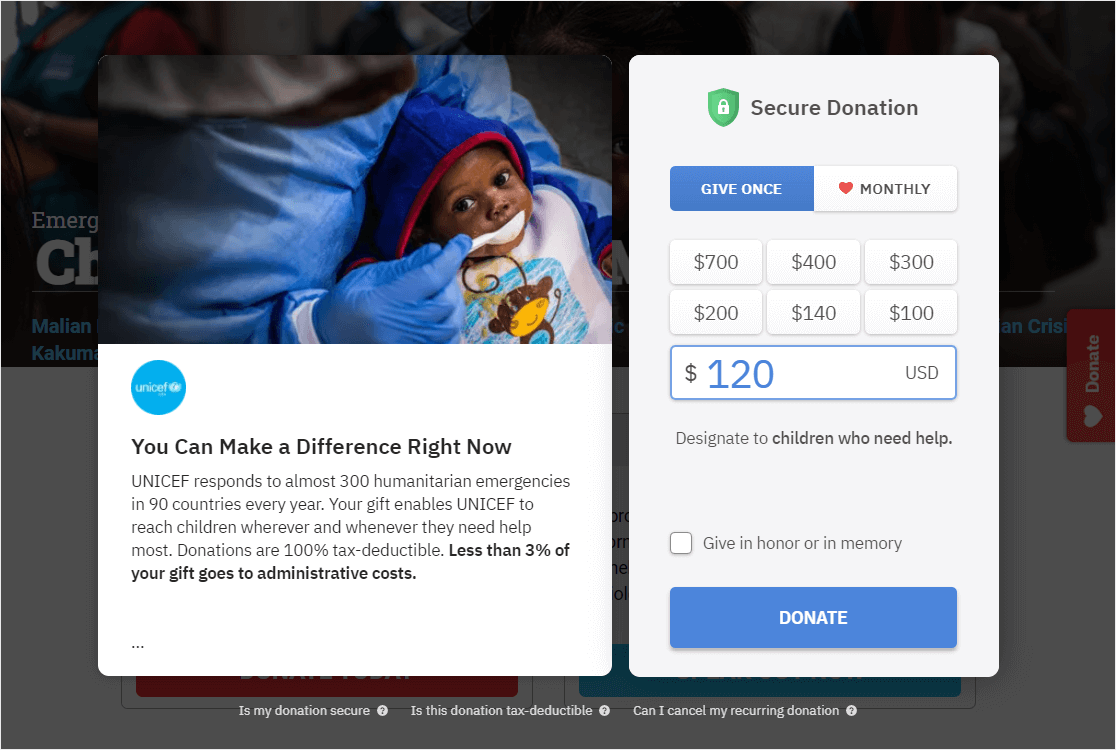 popup donation example