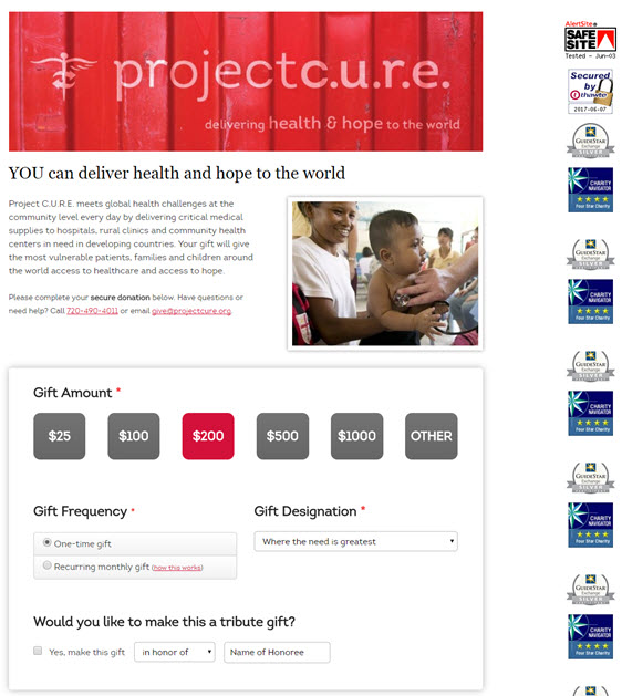 project cure- donation page examples
