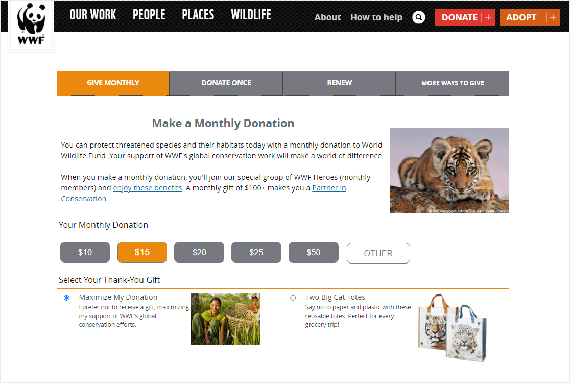 wwf donation page example