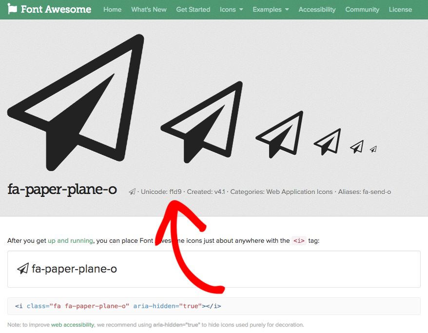 Font Awesome paper airplane icon page