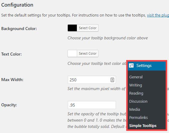 change settings tooltips